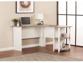 White/Sonoma Oak L-Shaped Desk w/ Side Storage ... - $103.61