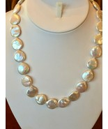 """White Coin Pearl Necklace 18"""" Baroque Freshwater Rhodium over Silver Strand - $36.58"""