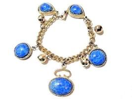 CHUNKY BLUE BROWN SPECKLED FOB BRACELET CHARMS RAISED DESIGN GOLD TONE V... - $20.00