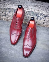 Handmade Men's Burgundy Wing Tip Leather Dress/Formal Oxford Shoes image 4