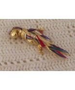 4 inch Parrot Brooch with Rhinestones and Bright Color New and Vivid - $9.79
