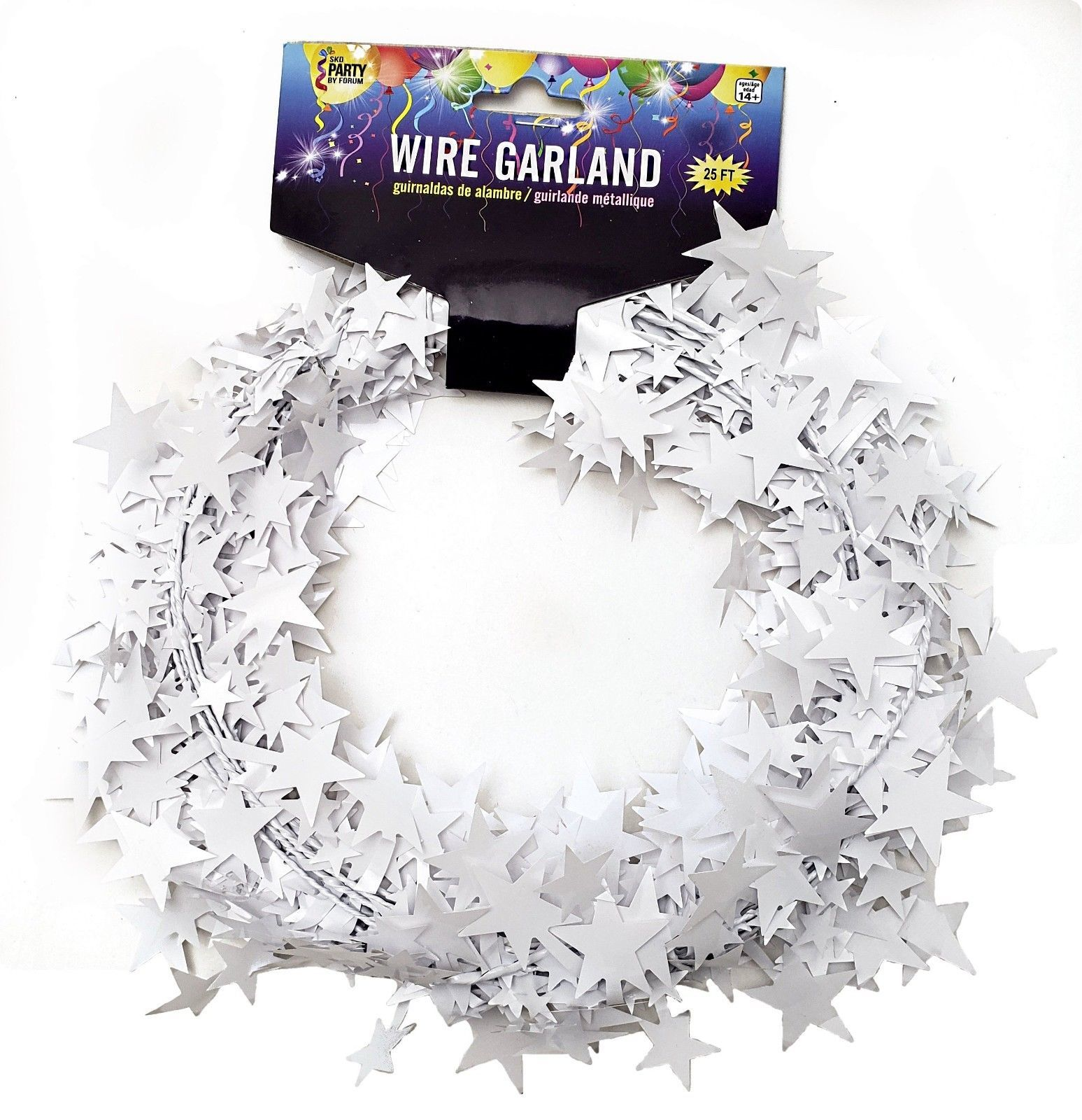 25 Foot Wire Garland - White (12 pcs)