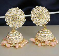 Indian Bollywood Ethnic Gold Plated Kundan Jhumki Earring Wedding Women ... - $21.78