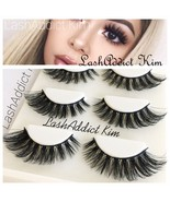 55483281683 Mink Lashes Eyelashes 3D Flutter 3 pairs Makeup Siberian Miami • New US .