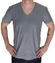 NEW DIESEL MEN'S PREMIUM COTTON GRAPHIC V-NECK SHIRT T-SHIRT T-TOSSIK DARK GREY image 3