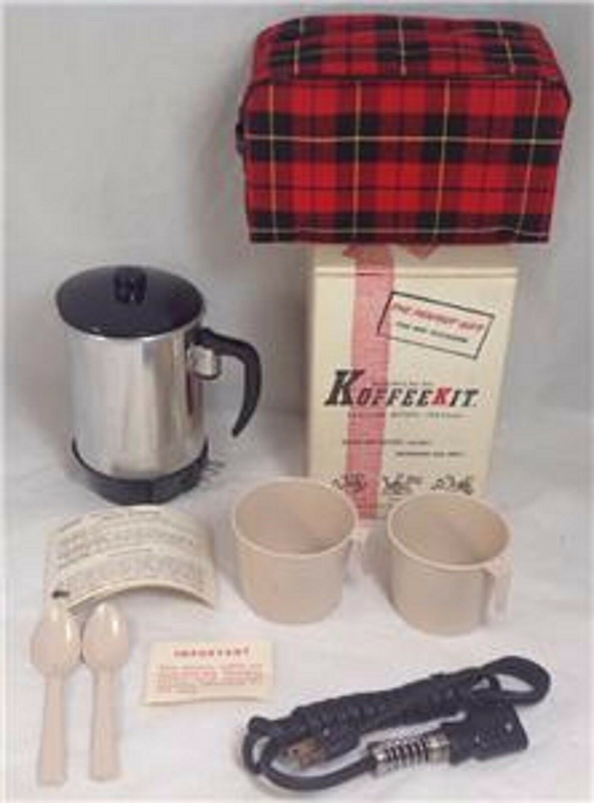 Keefe 60's Aluminum INSTANT Coffee/Tea Pot Model 225, Box, Case & Cups, Bakelite - $39.60