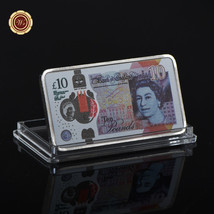 WR England 2017 New 10 Pound Note Printed Silver Clad Bar Great Britain Keepsake image 2
