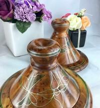 Set of 2 decorative Thuya wooden tajine dish plate, kitchen dish from Mo... - $79.10