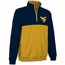 West Virginia Mountaineers 1/4-Zip Two-Color Fleece Pullover Jacket - Mens Small - $14.74