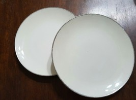 Pair of Franciscan China Simplicity Bread Butter Plates Platinum on Cream - $9.50
