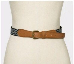 Universal Thread Women's Woven Boho Belt Black White Khaki Faux Leather ... - $15.67