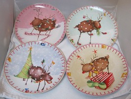 Oneida Reindeer Holiday Lot of 4 Plates 8 1/4 inches  Salad Dessert 4 Pa... - $54.45
