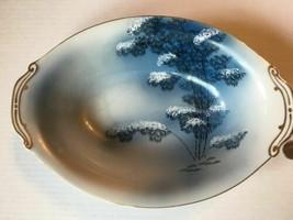Vintage Meijyo Kutani Japan Blue Bamboo Trees Rare Oval Serving Bowl  SK... - $15.75