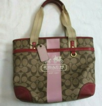 Coach Heritage Tote Bag Signature Stripe Pink Khaki Carriage 11349 - $39.60