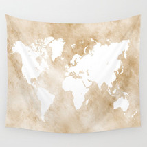 Wall Tapestry Wall Hanging Printed USA Design 82 world map light brown T... - $944,33 MXN+