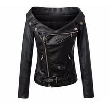 Stylish Motorcycle Long Sleeve Women Leather Jacket - $65.98