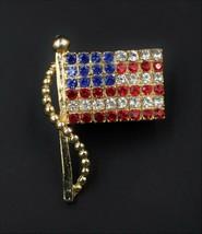 Vintage JewelArt Patriotic Red Blue White Rhinestone Flag Figural Brooch... - $9.89