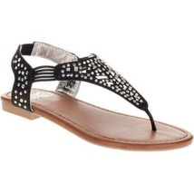 Faded Glory Girls Cutout Rhinestone Sandals Black Size 12 NEW Bling Bling - $13.85