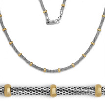 Italian 925 Sterling Silver 14k Yellow Gold Mesh Round Bead Link Chain N... - $69.75+