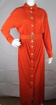 Vintage Together by Spiegel long dress button gold front orange size M - $41.59