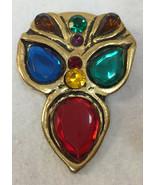 Brooch Pin Colorful Plastic Stones Gold Tone Antiqued Mardi Gras Mask Vi... - $9.89
