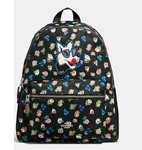 Coach Charlie Backpack F 57635 Tea Rose Floral Print Black Rucksack Bill... - $162.46