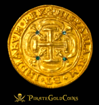 ROYAL EMERALDS MEXICO 1715 FLEET 8 ESCUDOS GOLD PLT DOUBLOON TREASURE COIN - $595.00