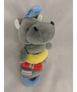 "Carters Gray Hippo Rattle Plush Stroller 9"" Stuffed Animal toy - $7.15"