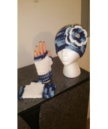 Blue & White Mix Hat & Fingerless Gloves Set (handmade/crochet) - $35.00