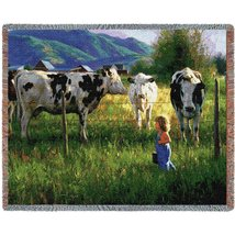Anniken And the Cows Throw - 70 x 53 Blanket/Throw - $48.95