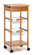 Osaka bamboo wood chrome metal basket drawer kitchen rolling storage rack cart - $75.00