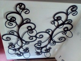 """Black Wrought Iron Scroll Work Wall Mounted Pillar Candle Holders 26"""" Tall - $49.50"""