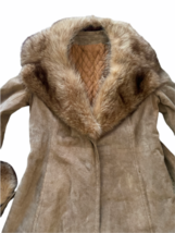 Vintage Women Long Suede Leather Fur Trim Coat Full Length Brown 70s Trench Belt image 4