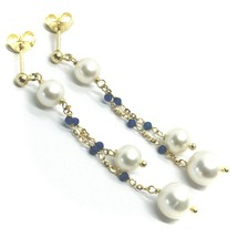 18K YELLOW GOLD PENDANT EARRINGS, DOUBLE WIRE FW PEARLS AND BLUE CUBIC ZIRCONIA image 2