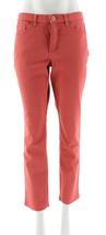 Denim & Co How Slimming Straight Leg Jeans Pockets Desert Coral 16P NEW ... - $20.77