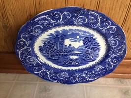 River Scene Canterbury Platter Ironstone Made in England Hand Engrav. Underglaze - $30.50