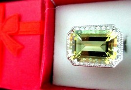 Judith Ripka 6.60ct. Lemon Quartz w Diamonique Sterling Ring Sz 6 Ring G... - $189.95