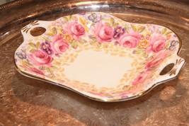 Royal Albert China Serena Square  Handled Dish  PINK CABBAGE ROSE GOLD G... - $34.99