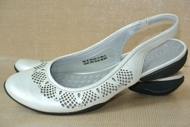 Clarks Privo Womens 9 M Pearlized Cream Leather Slingback Cut Out Ballet... - $21.77