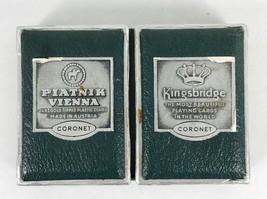 Vintage Coronet Piatnik Vienna Playing Cards Kingsbridge Double Set 24k Gold Tip - $19.79