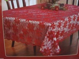 "Benson Mills Christmas Lace Poinsettia Fabric Tablecloth Decor 60"" x 84""... - $21.99"