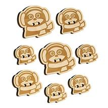 Winter Sloth with Ear Muffs and Scarf Wood Buttons for Sewing Knitting C... - $9.99