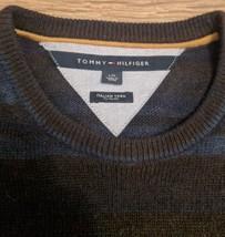 TOMMY HILFIGER Italian Yarn Woven Sweater Striped Dark Blue Soft Flag Bo... - $37.39