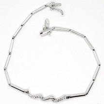 Bracelet or Blanc 18K 750, Tennis avec Zircon, Tubes, Serpent Ondulé image 1