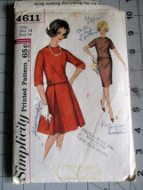 Vintage 1960's PATTERN Misses' Two-Piece DRESS Size 14 Bust 34 Simplicit... - $5.87