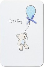 American Greetings Bear With Balloon New Baby Boy Congratulations Card With - $12.69