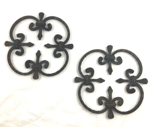 Vintage Wrought Iron Wall Hanging Lot Fleur De Lis Hangings Rustic