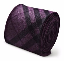 Frederick Thomas mens wool tweed tie in purple and black check FT3384