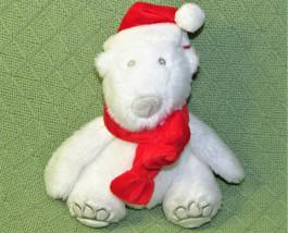 """8"""" Bath Body Works Polar Bear Santa Plush Stuffed Animal Teddy Red White 2009 - $14.85"""