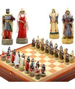 Genghis Kahn themed  Chess Set. Resin Pieces  Wood Board & Box great war... - $63.10